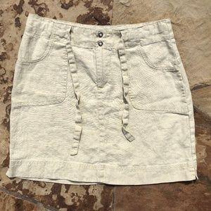 Athleta Vintage Linen Skirt Above Knee Pockets